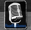 """Black and White image of a vintage style microphone, with """"ReadByGlasses"""" in blue at the bottom of the image."""