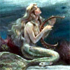 A mermaid with a harp.