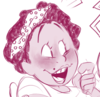 Cartoon picture of a young woman smiling and laughing while looking off to the side. She has short afro-hair and is wearing a polka dot ribbon.