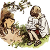 E. H. Shepard drawing of Christopher Robin reading a book to Pooh