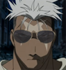 Bishie scar with greaser shades - scar from the 2003 FMA anime with aviator shades poorly photoshopped over his eyes.