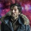 Diego Luna as Cassian Andor on a pink galaxy background