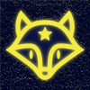 a glowing yellow fox face in line art, on a dark blue background