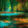 Painting of green-and-gold autumn forest with blue lake