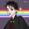 Concept art of Nomura in front of an asexual lesbian flag. Flag by palatte-flags on tumblr, icon by me.