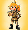 Yang in a delivery uniform