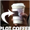 "Cup of Fatboy coffee with ""PLOT COFFEE"" text"