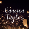 Vanessa Taylor writtem in a fancy script with floating lanterns in the night sky as the background