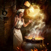 digital art of a chef/alchemist/witch wearing creating a wheel of swiss cheese. she has a crazed look in her eyes, ecstatically contemplating her creation, which levitates above a thick iron cauldron of bubbling cheese and emits a mystical glow.