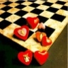 chessboard and hearts