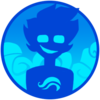 A silhouette-style drawing of John from Homestuck, grinning and with the Hero of Breath symbol showing on his chest. The backdrop is blue and smoky, and the entire icon is a circle.