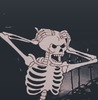 A black background with a cartoon skeleton that had its hands on its head as if it were frustrated
