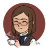 A picrew of what I (hope to) look like, holding a cup of tea and smiling at you welcomingly.