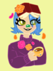 A digital painting of a girl with blue hair and green eyes holding a cup of tea. Flowers are falling around her.