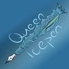 """A drawing of a fountain pen covered in ice. It has an ice crown on its cap. The word """"Queen"""" is above the pen while """"Icepen"""" is below."""