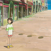 Chihiro on an empty street from Spirited Away by SG.