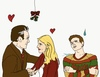 Colored sketch of Rupert Giles and Buffy Summers (Giles) sharing a fond moment beneath the mistletoe. Their young adult son Ed stands near, thoroughly embarrassed by them. Ed has a likeness of actor Tom Holland.