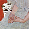 "Crop of ""Portrait of Fritza Riedler"", a painting by Gustav Klimt, focused on her hands."