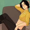 Fanart by Pentapoda; Star Trek Mirror!Universe Tim Drake reclining on a chair.