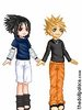 Cartoon dolls of Naruto and Sasuke holding hands