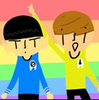 A cartoon drawing of Spock and Kirk against a rainbow background