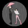 Miraculous Ladybug Marinette holding an umbrella over Felix's head