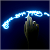 hand reaching for glowing quenya text