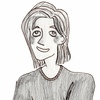 A cartoon drawing of user @coslyons with a green background. They have brown hair, pale skin, and are wearing a black shirt with white speckles.