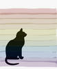 Seated cat silhouette with a striped rainbow wash