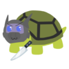 A digital drawing of a turtle wearing a helmet and holding a knife with a mischievous expression.