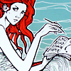 Illustration of woman with red hair writing.