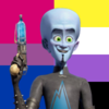 Image ID: Megamind smiling and holding his ray gun on a bi flag and nonbinary flag background