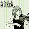 image: pale green background with a black and white drawing of a woman smiling while playing a violin with her eyes closed; text: Make Your Own Music
