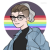 A picrew of a white person with brown hair & shaved sides and a grey ponytail, wearing glasses, an earring, a black shirt, and a jean jacket, on a circular dark purple background with a horizontal bisecting rainbow stripe