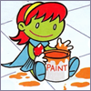 Baby M'Gann playing in paint