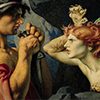"""a painting in which a ginger sphinx menaces a dude who has a dagger and a look on his face that says, """"um, rude, why are you resisting my stabbing you?"""""""