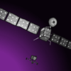 this picture was made by me! it depicts the now-deorbited rosetta satellite, which deorbited a few years back. it landed on a contact binary asteroid, and its mission inspired my upcoming twine series. i think that is pretty neat.