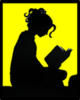 Girl sat down reading a book