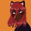 An image of Cinnabar from Land of the Lustrous with black features. Dark brown skin, a wide nose, and long curly hair that coils at the ends. They're wearing a Halloween costume, black cat ear headband, eyeshadow, and turtleneck. Orange background.