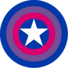 Captain America shield in bisexual flag colors (pink, blue, purple)