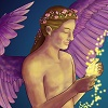 a bare-chested figure with purple wings and flowers in their hair. they have balls of light glowing in their hands, and they are smiling.