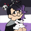a 2d drawing of the upper half of a little round sort of person, ambiguous gender, light skin, dark wavy hair fading to purple. they wear glasses, hold a white rabbit, skulls and bones float above their head, and the asexual flag flies behind them.