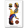 """Playing card style self portrait as both a Hufflepuff and a Pukwudgie created using Azalea's """"Queen of the Deck"""" doll maker."""