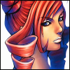 Icon of the character Echidna from the PS2 game, The Bouncer -- a close-up of a woman's face who has pink pigtails, olive skin and pale lips.