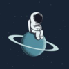 pixel astronaut sitting on a planet
