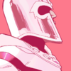 Magneto in his white uniform stands against a background of pink and green.