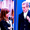 Clara looking at the Twelfth Doctor, standing in front of the TARDIS, from the end of Deep Breath