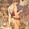 lady with wine by mucha