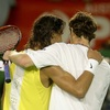 Rafa Nadal and Andy Murray embrace at the net after their match at the Aus Open 2007