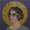 A digital shoulders-up portrait of Jonathan Sims from the Magnus Archives. He is a bespectacled, gaunt man with light brown skin, chin-length wavy dark, graying hair, and many assorted scars. There is a cracked golden halo behind him.